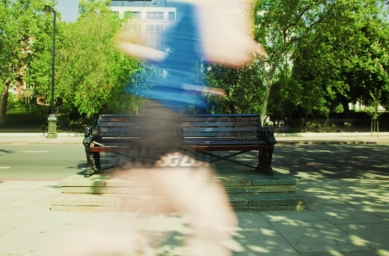 blurred runner in park